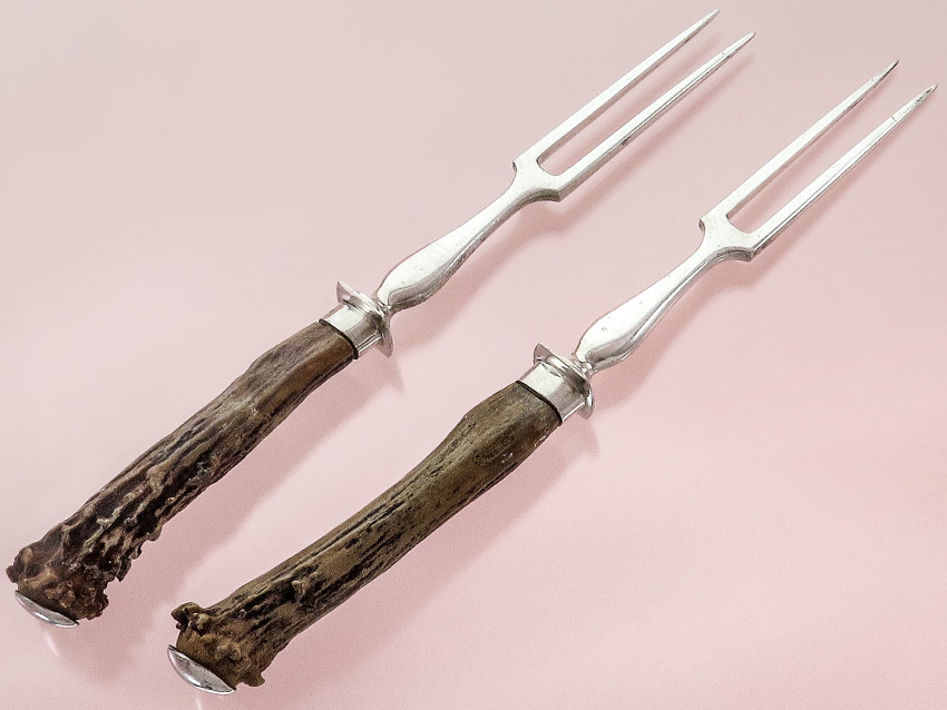 Meat Forks Bruckmann Silver with Horn Handles