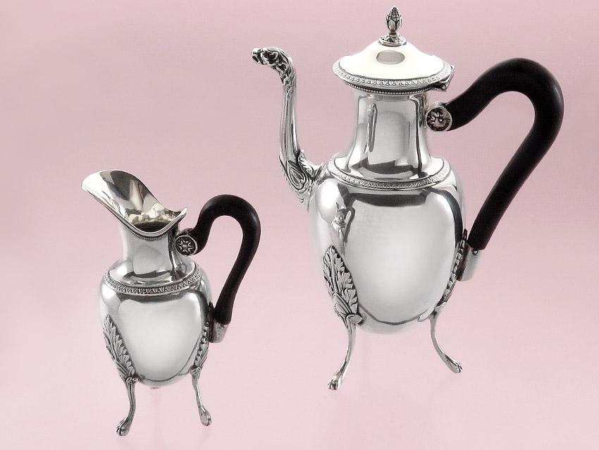 Kaffeekännchen Milchkännchen Antik Empire Frankreich um 1838 Silber