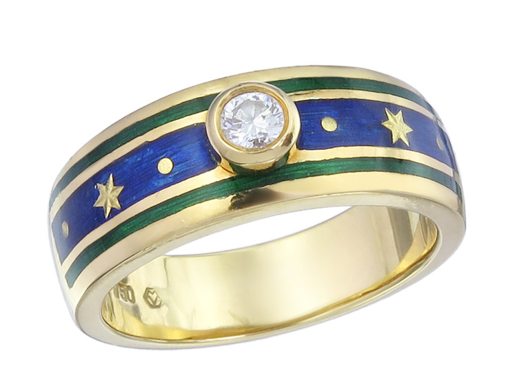 Fabergé Ring Brillant Emaille 750er Gelbgold Zertifikat Box