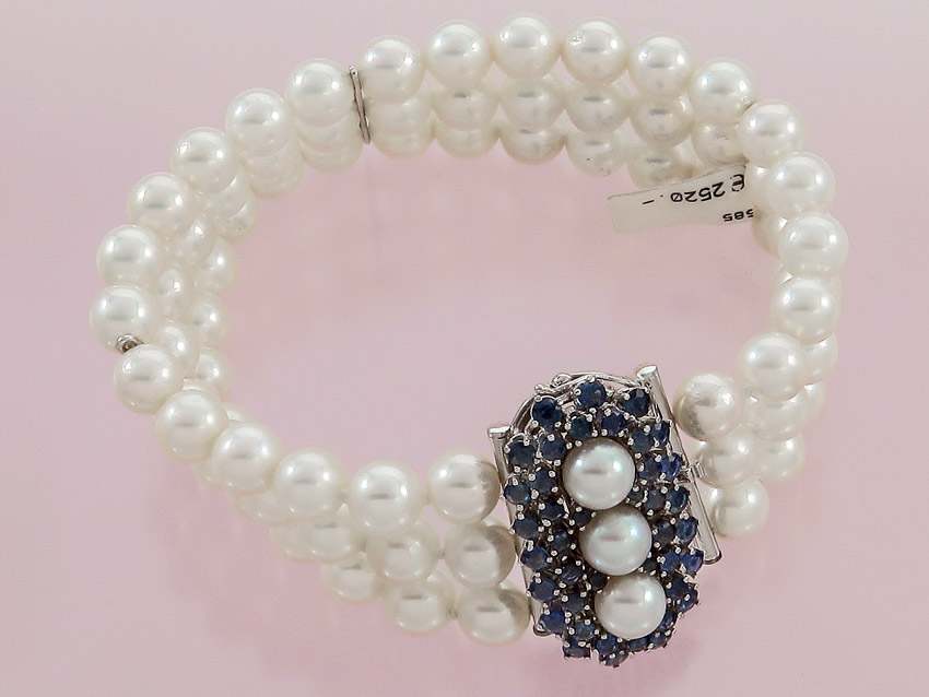 Bracelet Three Row Pearls Sapphires 585er White Gold