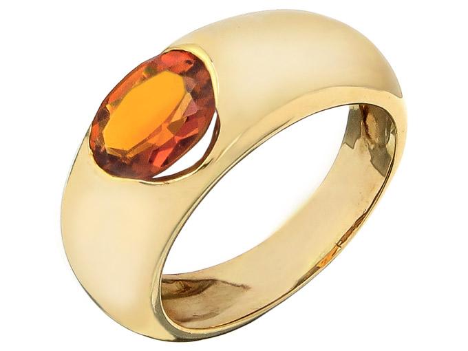CRISO Ring Citrin 18 Carat Yellow Gold Italy