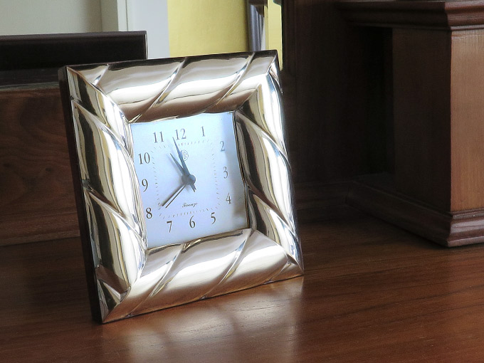 Table clock Firenze wood with silver mount Italy