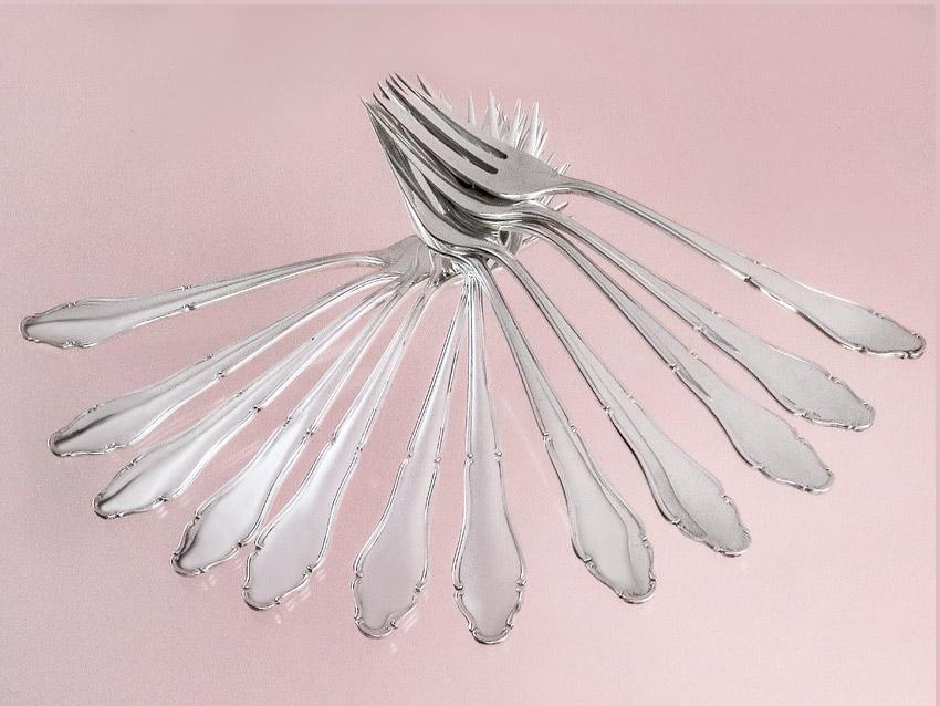 Kuchengabeln Chippendale Lutz und Weiss Silber