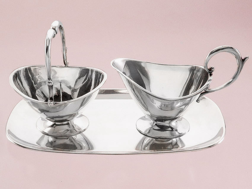 Milk and Sugar-Set on Tray Art Dèco Mastersilver Schwäbisch Gmünd