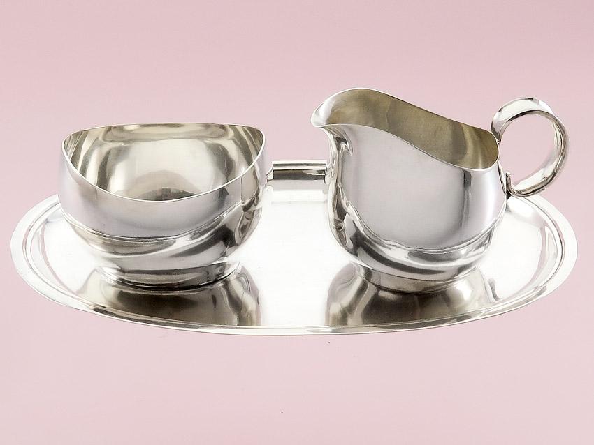 Milk and Sugar Set on Tray Art Dèco Silver