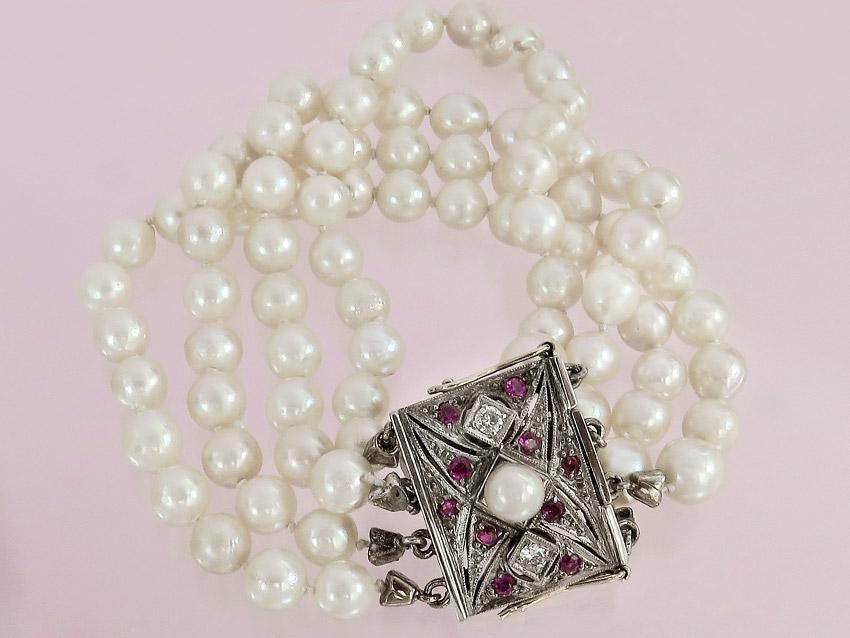 Armband vierreihig Perlen Brillanten Rubine 750er Weissgold