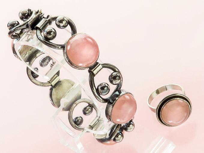 Schmuckset Armband Ring Rosenquarz Silber