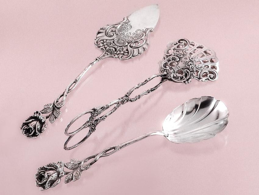 Gebäckzange Tortenheber Sahnelöffel Rose Silber