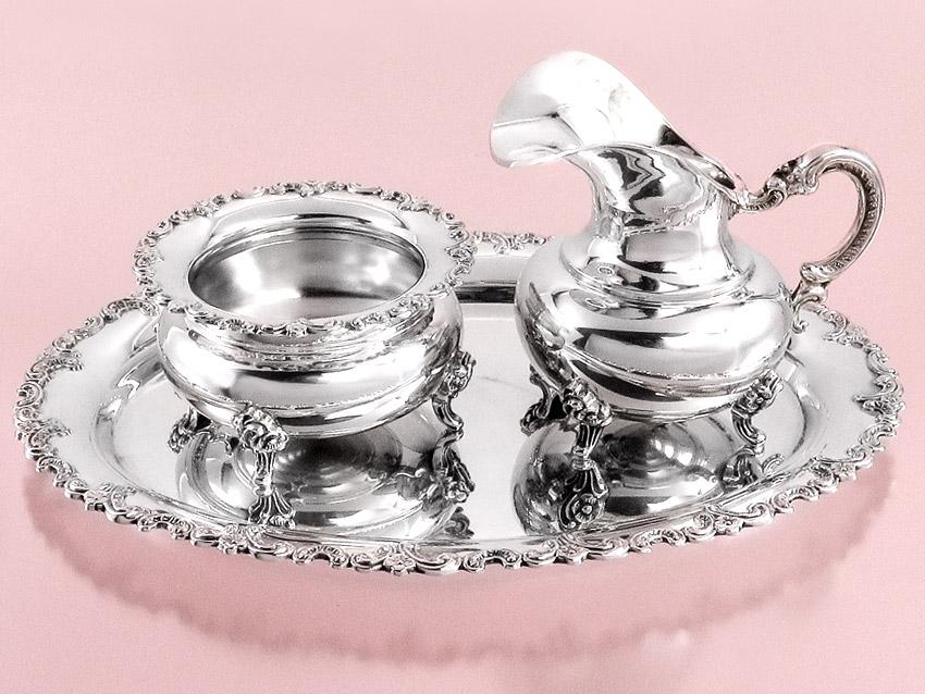 Milch und Zucker auf Tablett Meistersilber Schwäbisch Gmünd