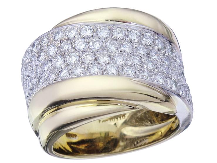 Leo Pizzo Ring Diamonds 18 Karat White and Yellow Gold Receipt