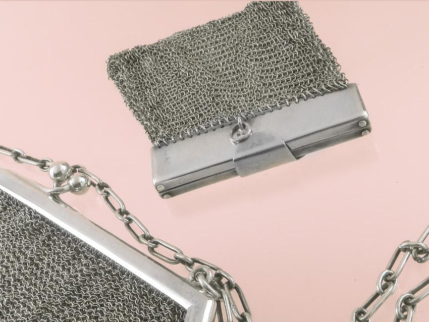 Abendtasche / Theatertasche & Geldbörse mit Silberbügel Art Deko