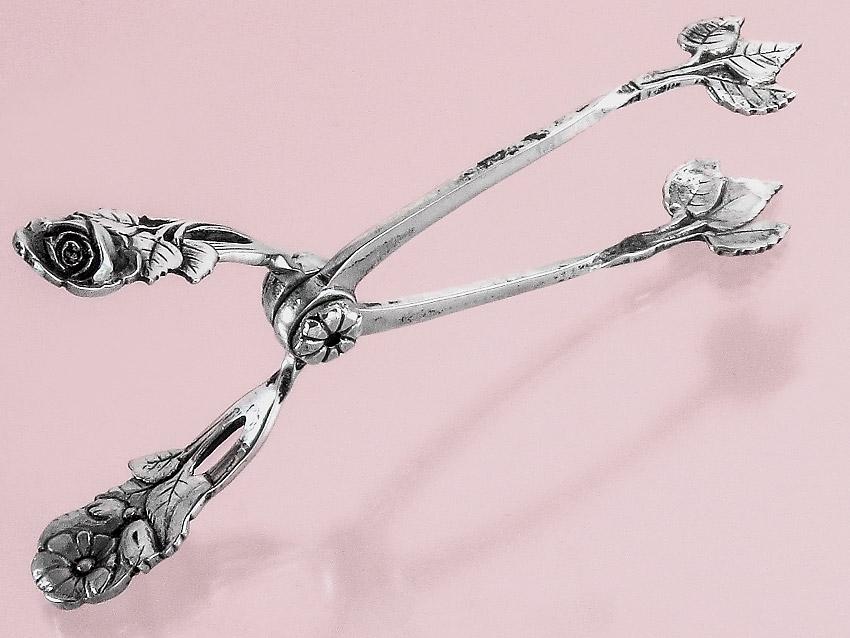 Zuckerzange Rose 800er Silber