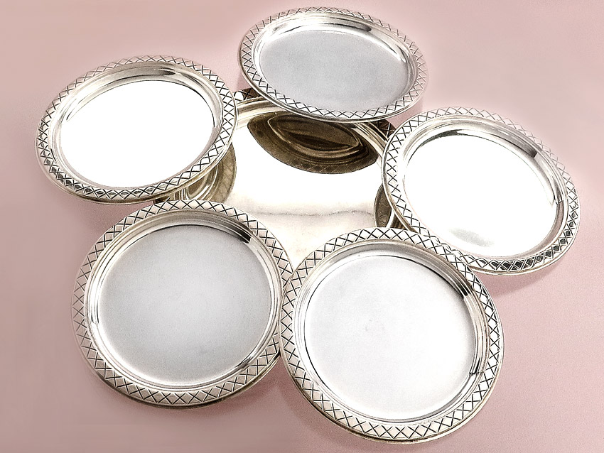 Glass Coaster Set Lutz & Weiss 835 silver