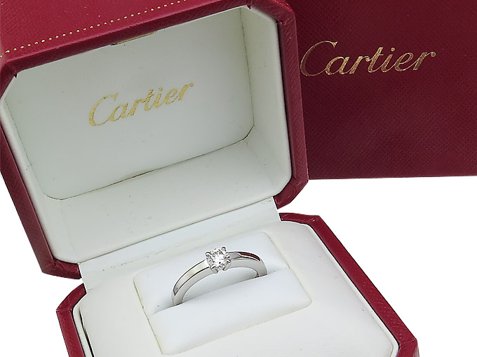 Cartier Solitaire Ring Diamond 0.36 Carat 950 Platinum Box