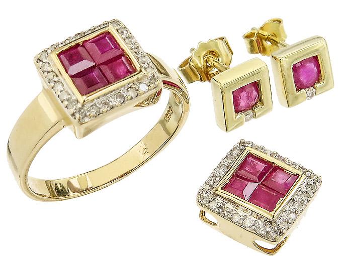 Schmuckset Dreiteilig Rubine Diamanten 585er Gelbgold
