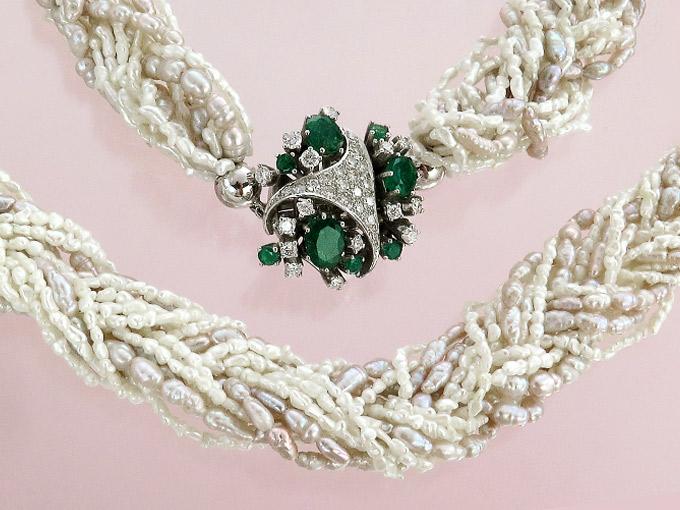 Perlenkette Smaragde Brillanten 585er Weißgold
