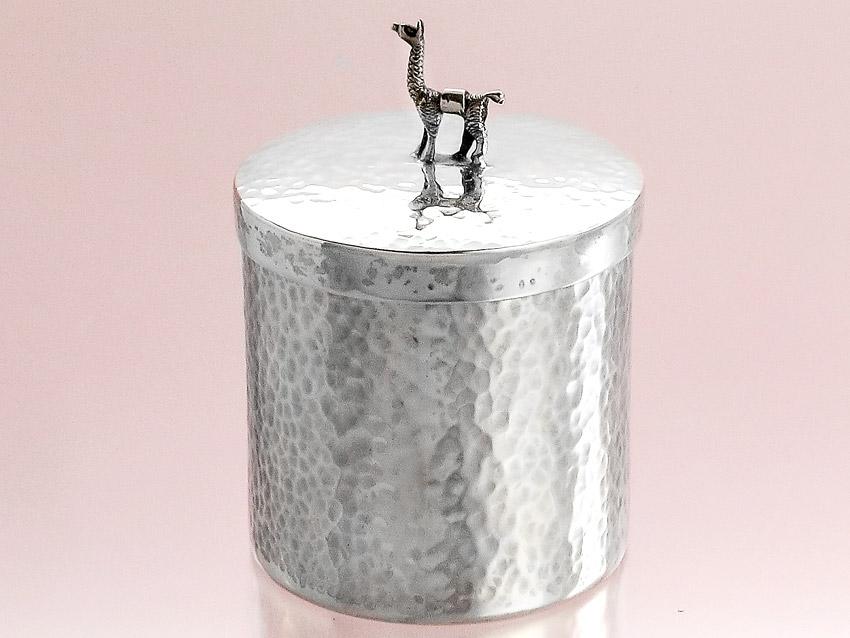 Deckeldose Silberdose Lamafigur Italien