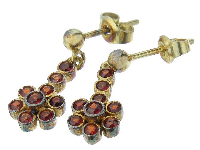 Earrings Garnets 14 Karat Yellow Gold