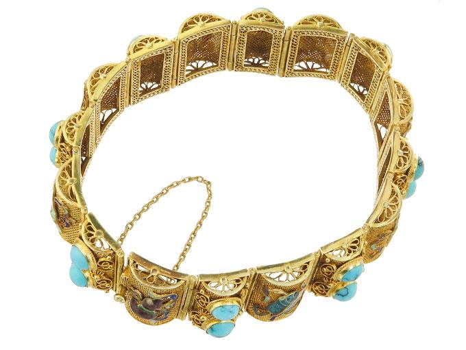 Armband Türkise Emaille 585er Gelbgold China