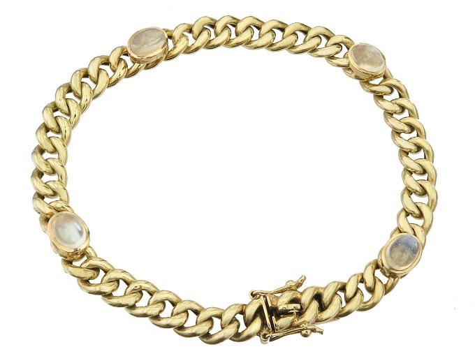 Bracelet Moonstone 14 Karat Yellow Gold