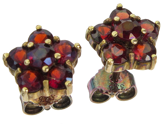 Earrings Garnets 8 Karat Yellow Gold