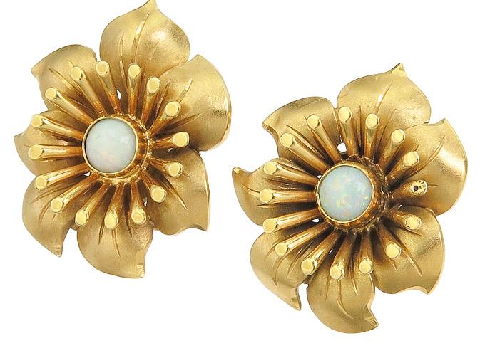Ohrstecker Blüte Opal 585er Gelbgold