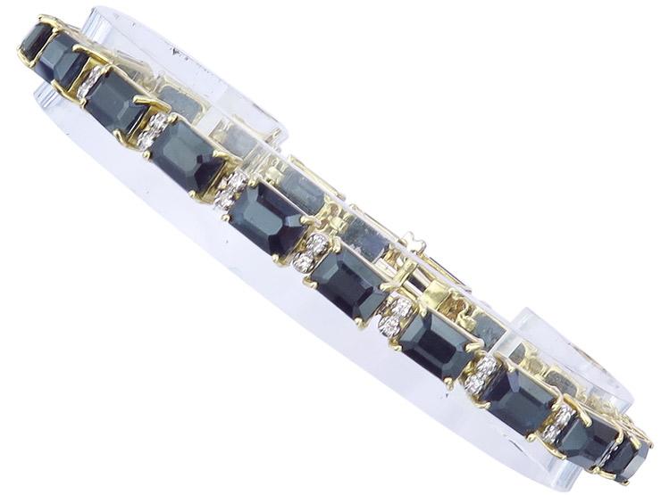 Bracelet Sapphires Diamonds 18 Karat Yellow Gold