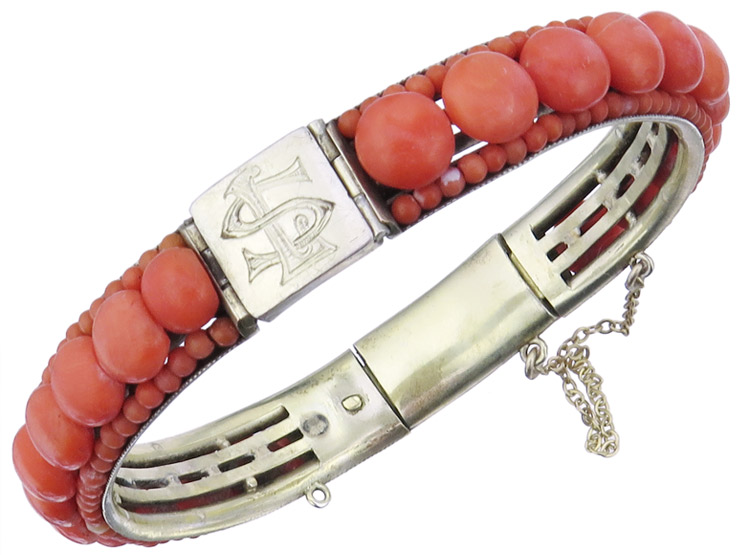 Bangle Corals Monogram LS 835 Silver Gold Plated Antique