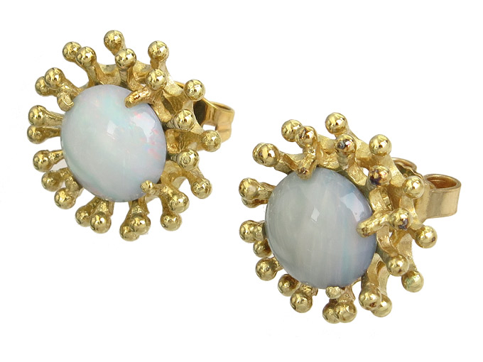 Earrings Opal 8 Karat Yellow Gold approx. 1955-60