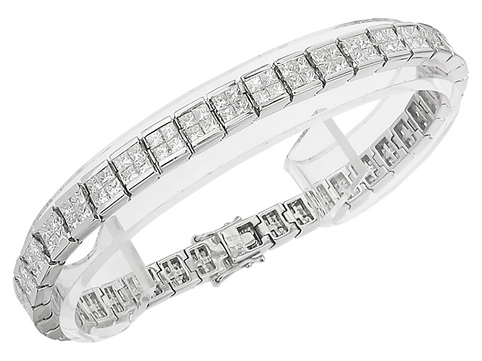 Rivère Bracelet Princess Diamonds 18 Karat White Gold