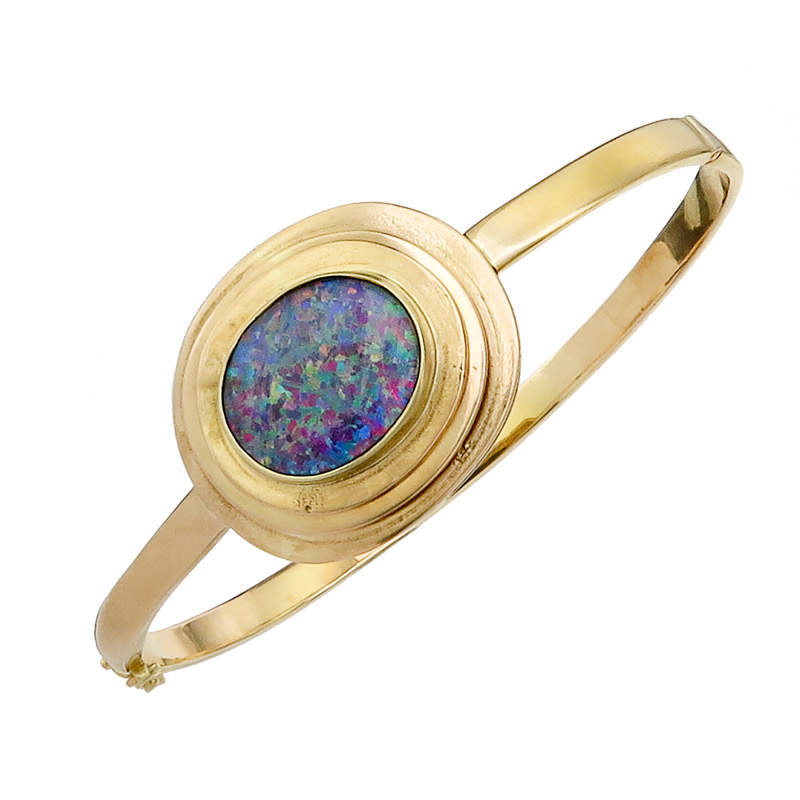Bangle Opal 14 Karat Yellow Gold