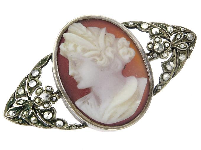 Brooch Cameo Marcasites Silver