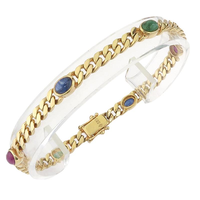 Curb Bracelet colored Stones 14 Karat Yellow Gold