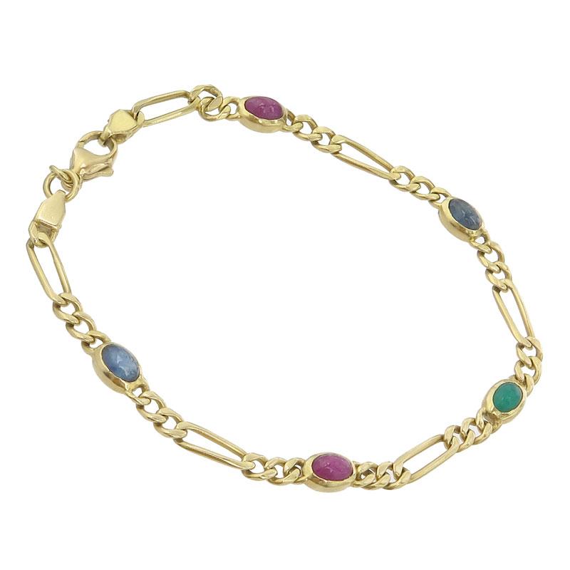 Bracelet Colored Stones 18 Karat Yellow Gold