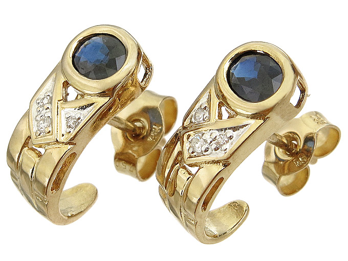 Earrings Sapphire Diamonds 18 Karat Yellow Gold