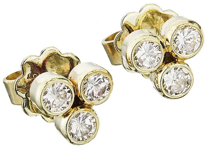 Earrings Daimonds 14 Karat Yellow Gold