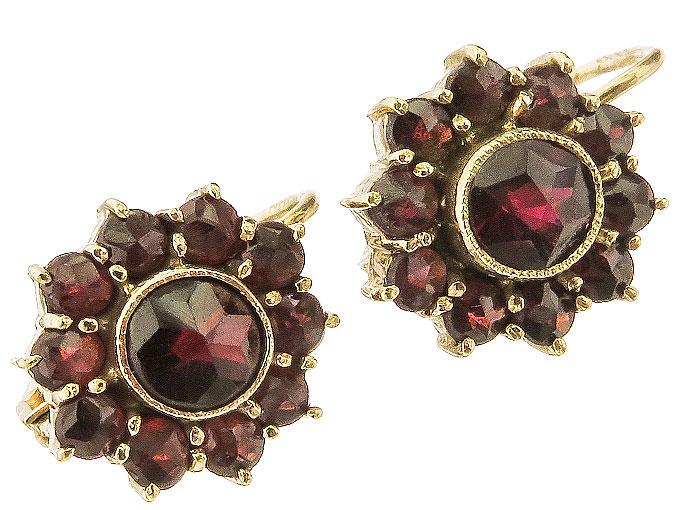 Earrings Garnets 8 Karat Yellow Gold