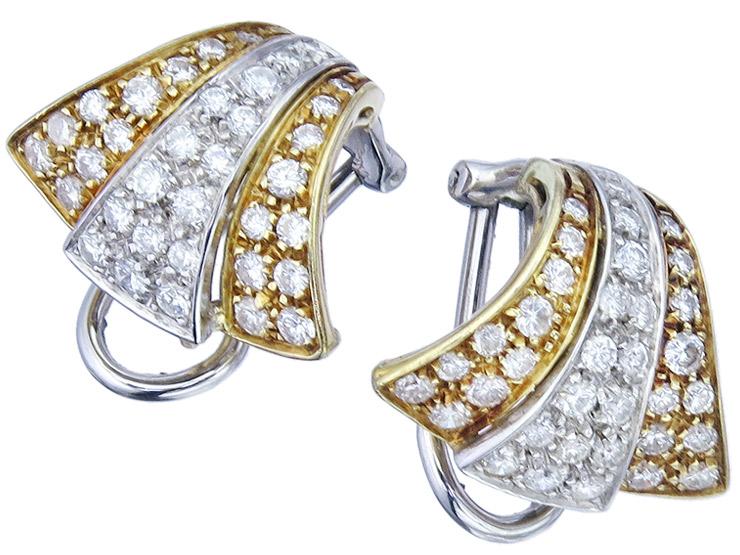 Earrings Diamonds 18 Karat Yellow and White Gold