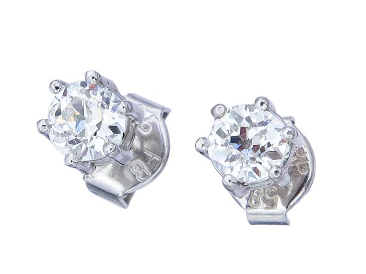 Earrings Old Cut Diamonds White Gold