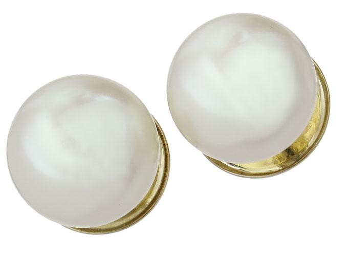 Earrings Fresh Water Pear Button 14 Karat Yellow Gold