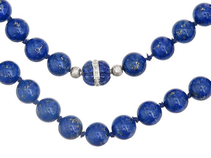Kette Wechselschließe Lapis Lazuli Diamanten 585er Weissgold