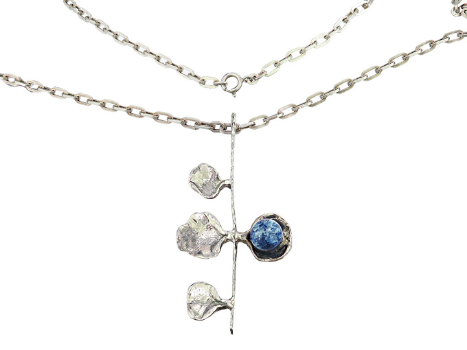 Necklace with Pendant Blue Colored Stone 835 Silver