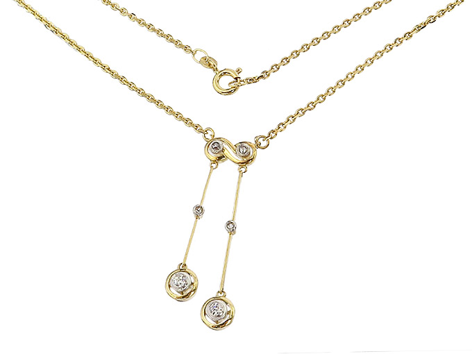 Collier Old Cut Diamonds Yellow Gold Pendant around 1910