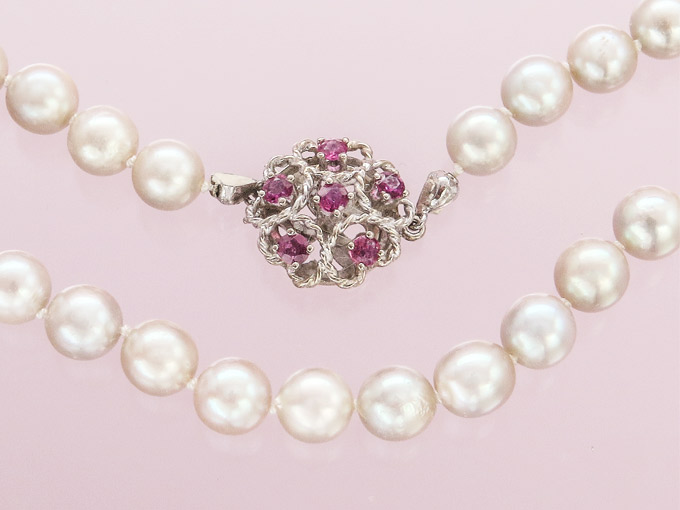 Pearl Necklace Rubies 14 Karat White Gold