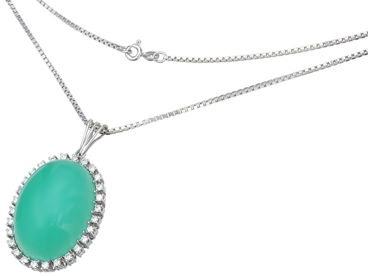 Necklace Pendant Chrysopras Diamonds 14 Karat White Gold