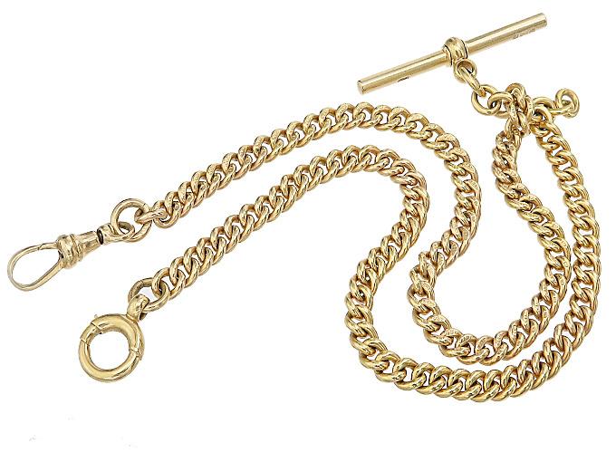 Uhrenkette Antik Knopfloch-Steg 375er Gelbgold