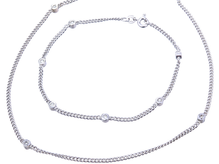 Jewelry Set Two Parts Diamonds 14 Karat White Gold