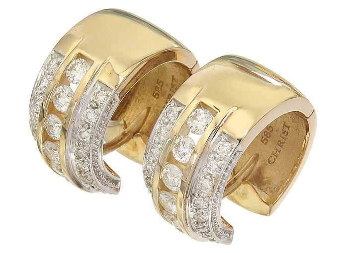 Christ Hoop Earrings Diamonds 14 Karat Yellow Gold