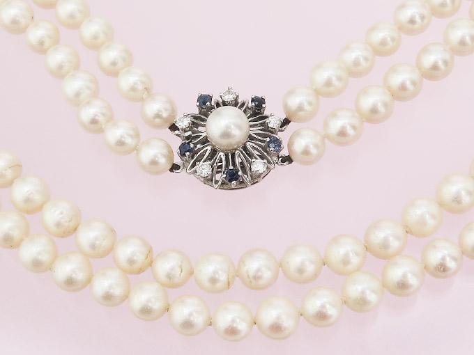 Perlenkette Brillanten Saphire 585er Weißgold