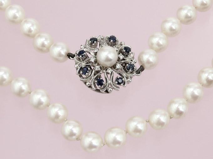 Pearl Necklace Sapphires Diamonds 18 Karat White Gold